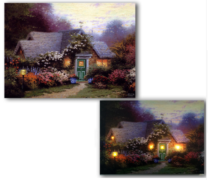 LED cottage with garden flowers