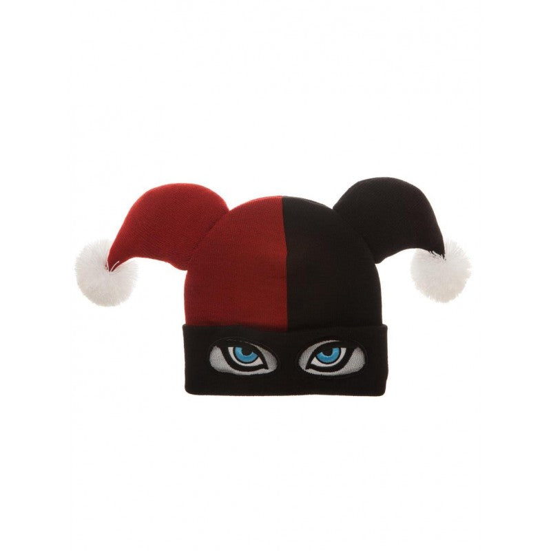 Official DC comics - Harley Quinn face costume styled pom beanie hat
