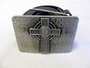 Celtic cross stone effect buckle with belt