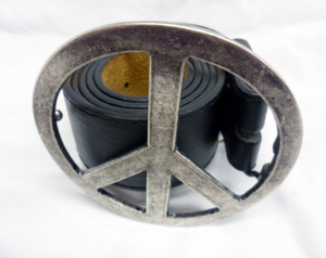 Vintage peace symbol buckle with belt