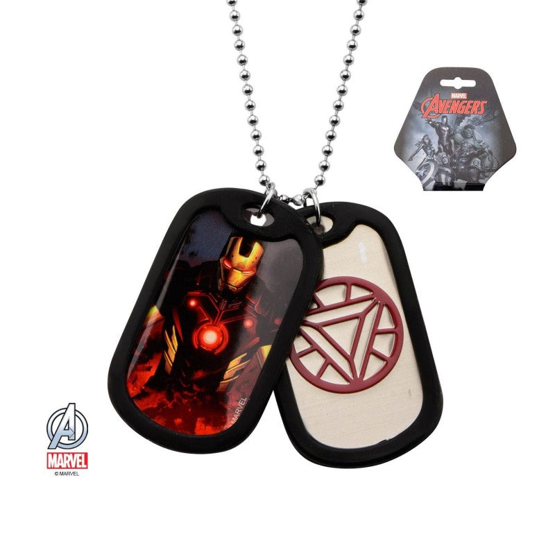 Marvel comics - Iron man suited / Arc symbol dog tag pendant with chain necklace