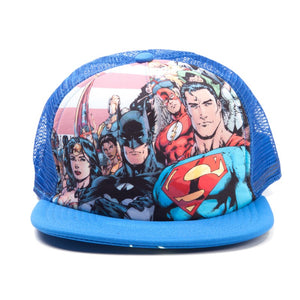 DC Comics Justice league Batman / Superman / Wonder woman blue trucker snapback cap