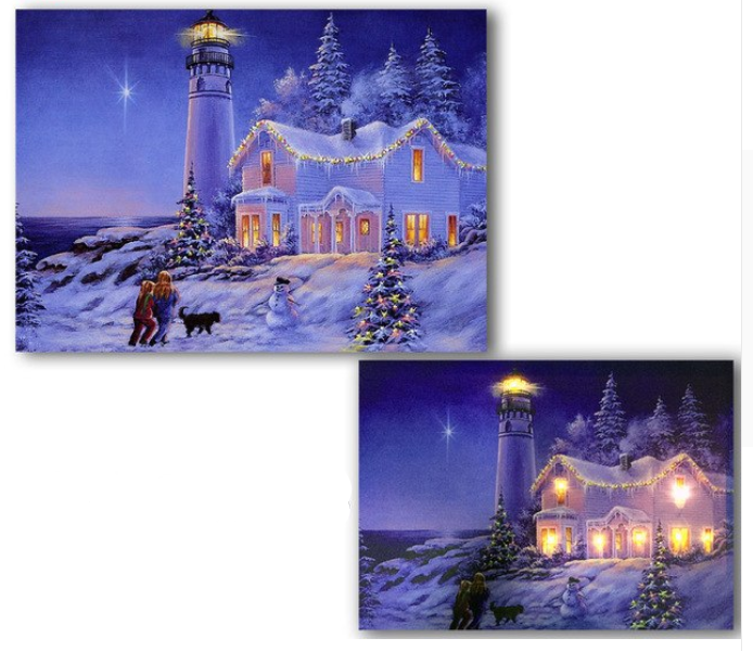 LED cottage and lighthouse snowman