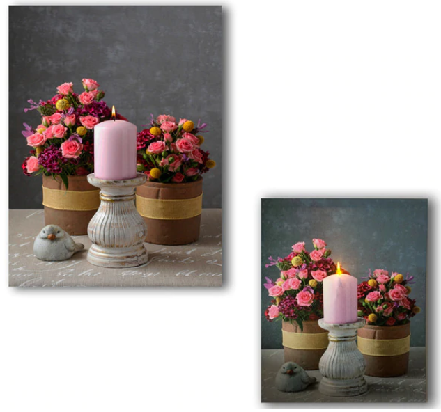 LED bouquet flowers vase & pink candle