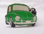 Bright green Beatle classic car buckle with belt