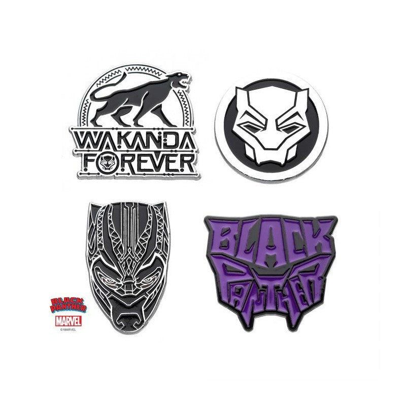 Marvel comics Black panther Wakanda forever 4 piece metal pin badge