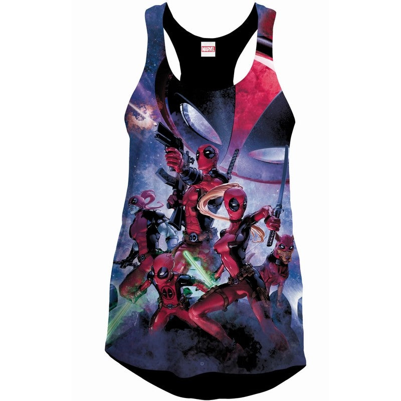 Official Marvel comics Deadpool's everwhere womans vest top