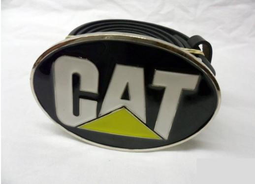 Caterpillar logo oval buckle with belt