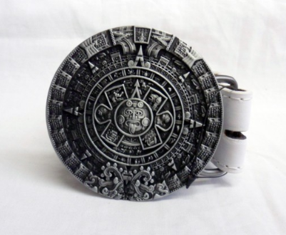 Aztec Mayan calendar symbol buckle with belt