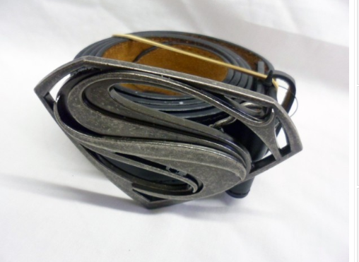 Grey industrial man of steel buckle with belt