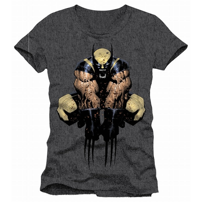 Official Marvel comics Wolverine splattered blood / jumping attack grey t-shirt