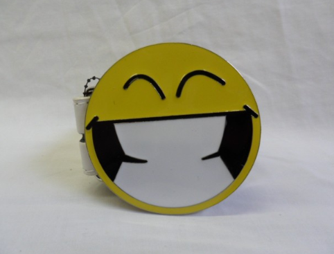Big cheesy grin smiley face buckle with belt