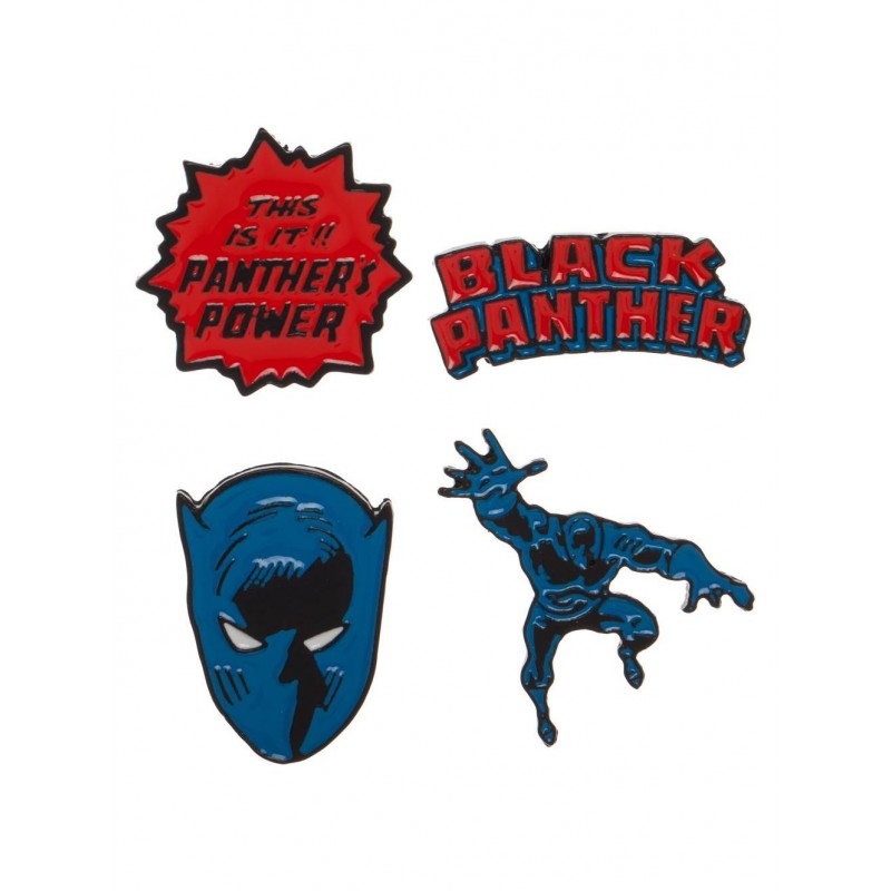 Marvel comics - Black panther comic styled 4 piece pin badge set