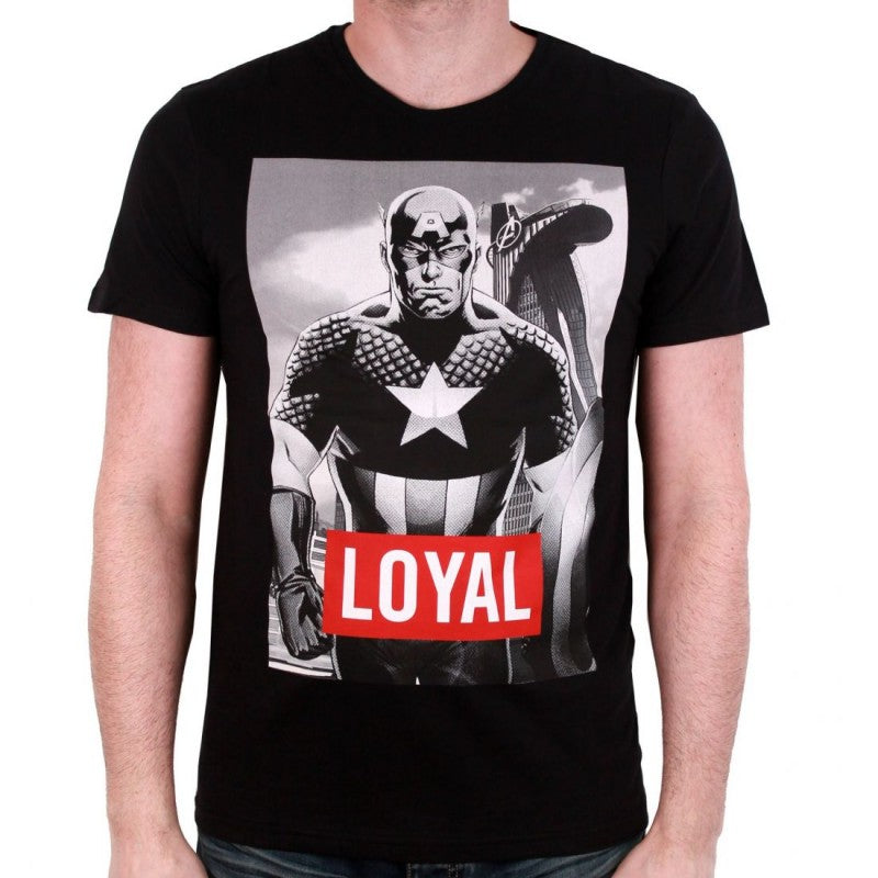 Official Marvel comics - Captain America black and white print 'loyal' text black t-shirt