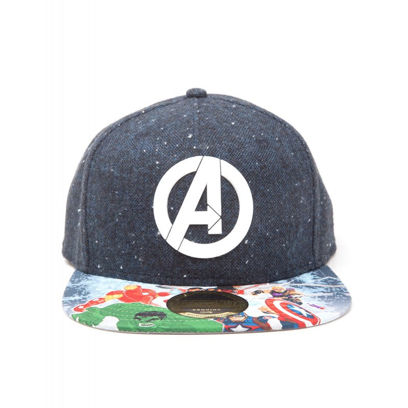 Official Marvel comics Avengers 'A' symbol snapback cap with printed visor