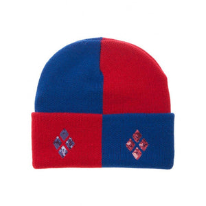 Official DC Comics - Harley Quinn sequin diamonds red and blue cuff beanie