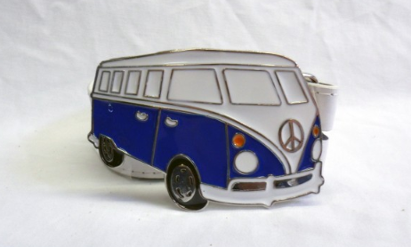 Blue & white peace camper buckle with belt