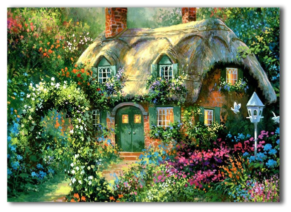 LED canvas rose garden cottage