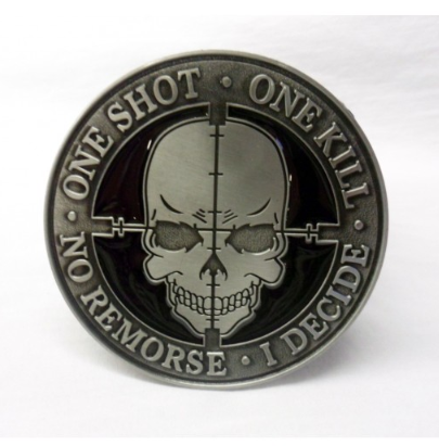 """One shot. One kill. No remorse. I decide"" tactical morale buckle with belt"