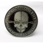 """One shot. One kill. No remorse. I decide."" tactical morale buckle with belt"