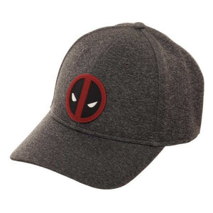 Official Marvel comics - Deadpool rubber symbol grey fitted cap