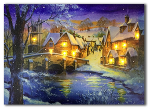 LED canvas winter in village