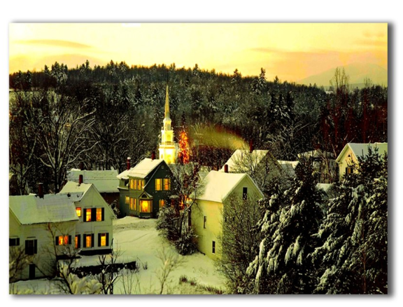 LED church in winter landscape