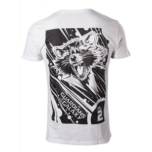 Official Guardians of the galaxy vol. 2 - Rocket raccoon back print white t-shirt