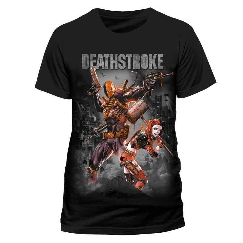 Official DC Comics Justice league Deathstroke & Harley Quinn black t-shirt