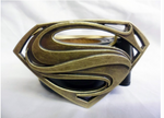 Rustic gold / bronze industrial man of steel buckle with belt