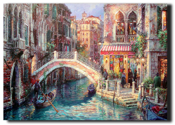 LED bridge and canal in Venice