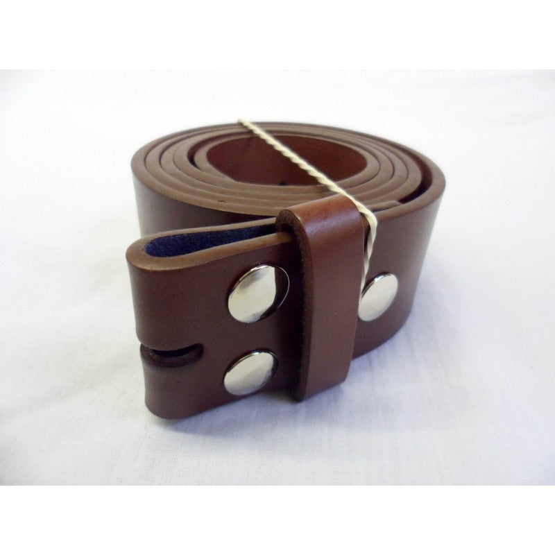 Brown leather snap on belt