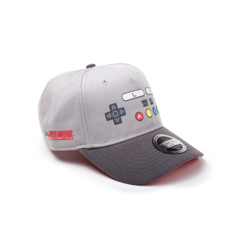 Official Nintendo - SNES controller styled grey curved bill baseball cap