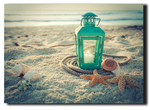 LED canvas lantern with shells on beach