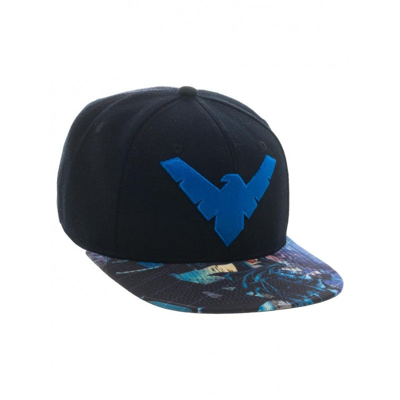 Official DC Comics Nightwing symbol black snapback cap with printed visor