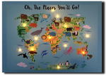 LED cartoon world map with animals