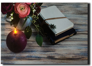 LED notebook and flowers