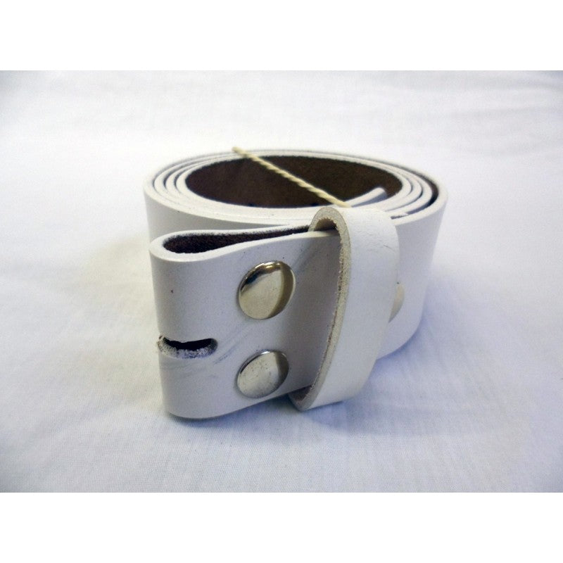 White leather snap on belt for most buckles