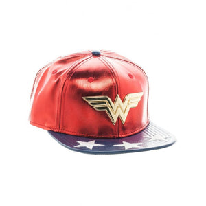 Official DC Comics Wonder woman metal symbol red & blue PU snapback cap