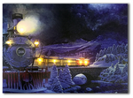LED canvas santa's train on time