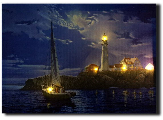 LED canvas sailboat at lighthouse