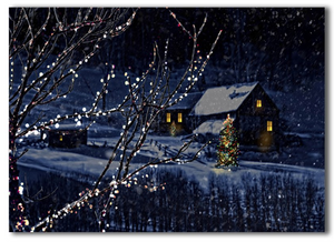 LED cottage scenes christmas winter night