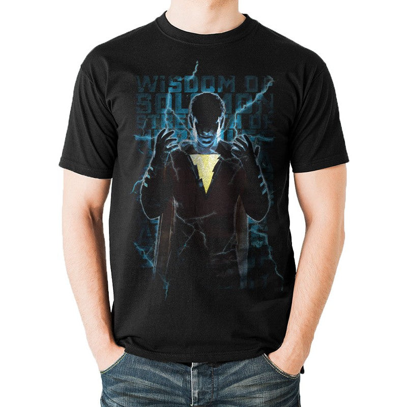 DC Comics - Shazam lighting text black t-shirt