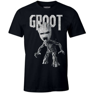 Guardians of the galaxy - Groot angry black distressed t-shirt