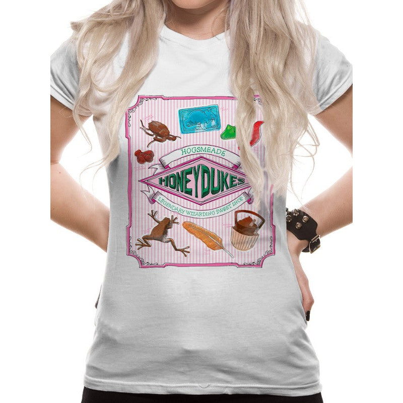 Harry Potter - Honeydukes Wizarding Sweet Shop Print White Fitted T-shirt