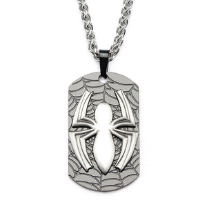 Marvel comics: the amazing Spider-man symbol / web dog tag pendant on chain necklace