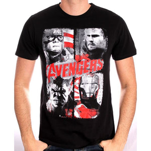 Marvel's Avengers Captain America, Thor, Hulk and Iron man black t-shirt