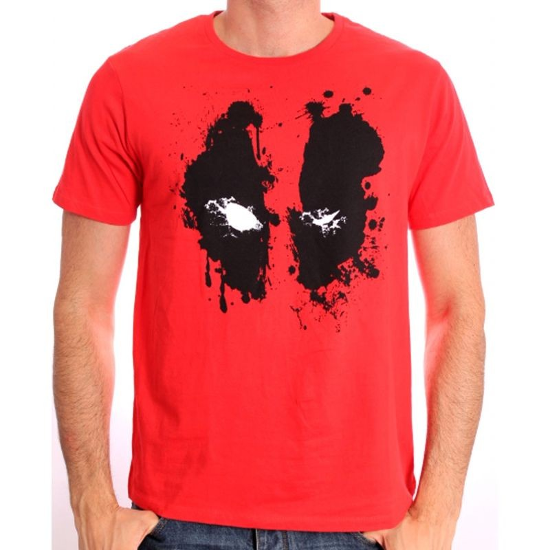 Marvel's Deadpool splat eyes / face symbol red t-shirt