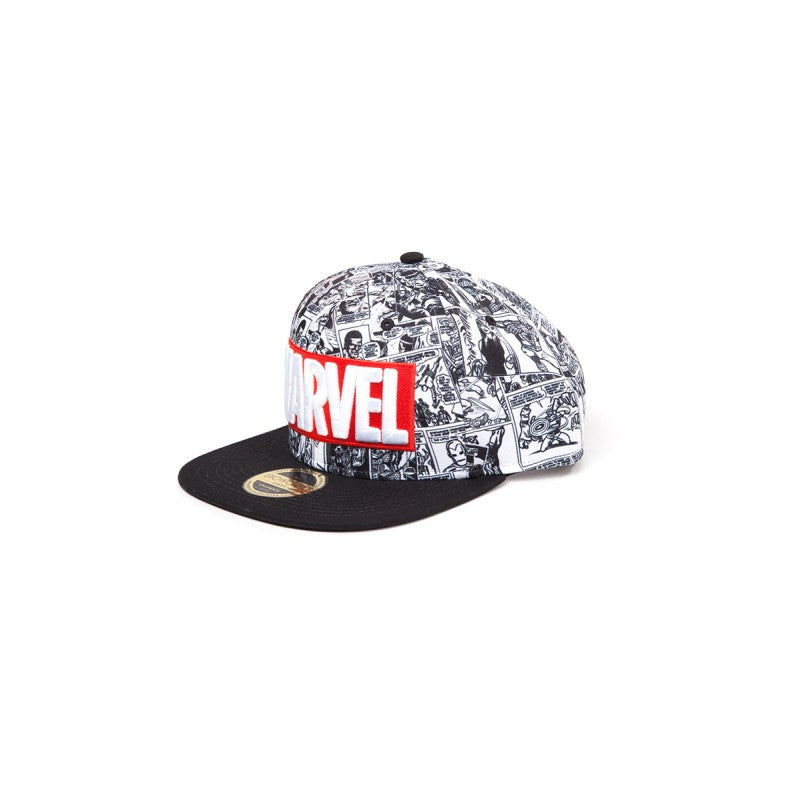 Marvel comics logo with all over black & white comic print snapback cap