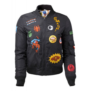 Official Marvel comics super hero patches black bomber jacket